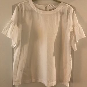LOFT - White Cotton Short Bell Sleeve Top